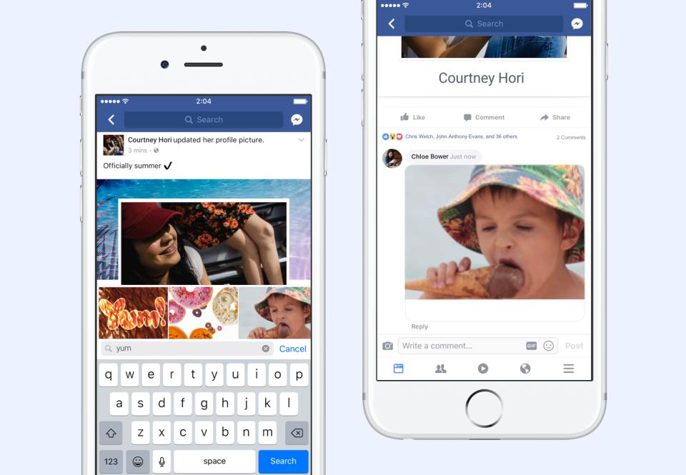 Ya puedes publicar GIFs en los comentarios de Facebook